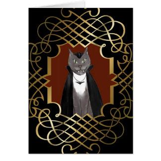Vampire Kitty Portrait Halloween Card