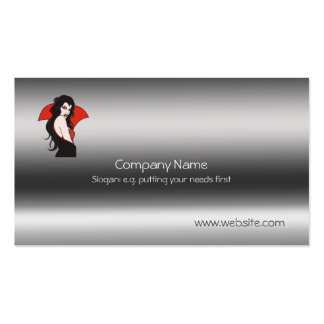 Vampire Lady on metallic-look template Double-Sided Standard Business Cards (Pack Of 100)