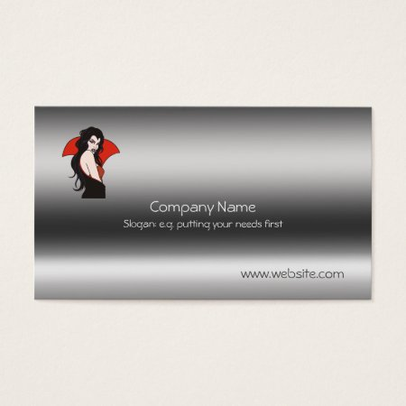 Vampire Lady on metallic-look template Business Card