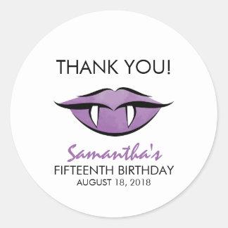 Vampire Lips Goth Thank You Birthday Sticker