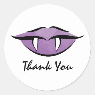 Vampire Lips Halloween Birthday Thank You Sticker