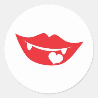 vampire lips love heart classic round sticker
