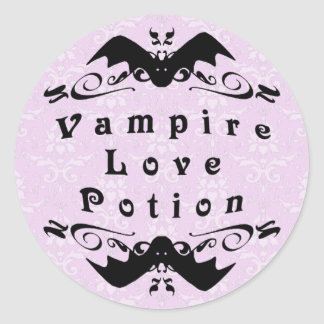 Vampire Love Potion Halloween Round Stickers