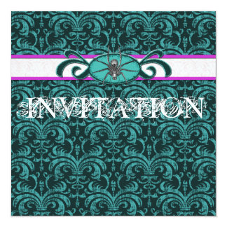 Vampire Lover's Ball Gothic Damask Green & Black Personalized Announcements