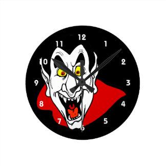 Vampire mouth open head cape round clocks
