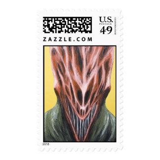 Vampire Next Door (surreal monster portrait) Postage Stamps