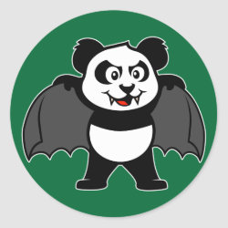 Round Sticker with Vampire Panda design