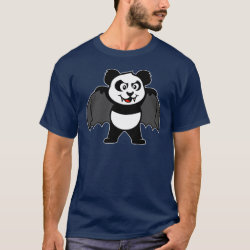 Men's Basic Dark T-Shirt with Vampire Panda design