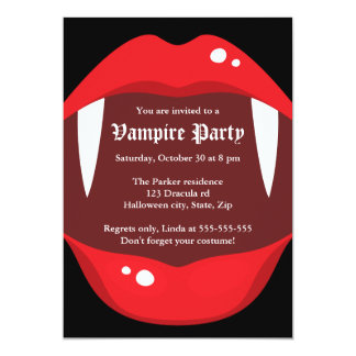 Vampire party invitation with fangs and red lips