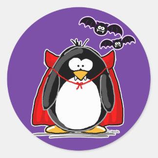Vampire Penguin Classic Round Sticker