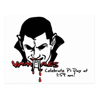 Vampire Pi Day T-shirts and Gifts Postcard
