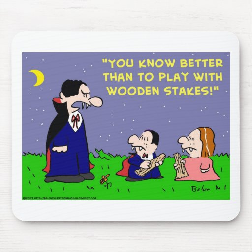 VAMPIRE PLAY WITH WOODEN STAKES MOUSE MATS