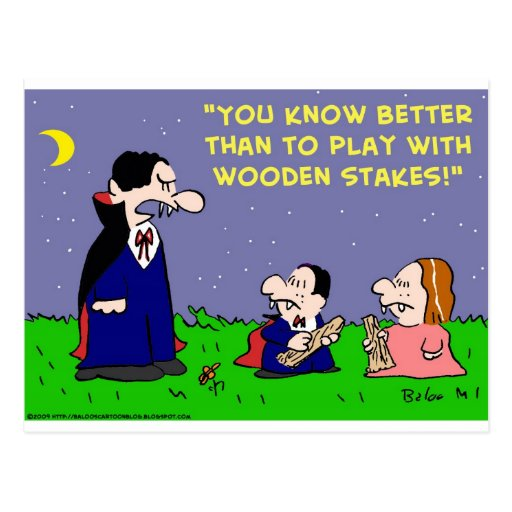 VAMPIRE PLAY WITH WOODEN STAKES POST CARD