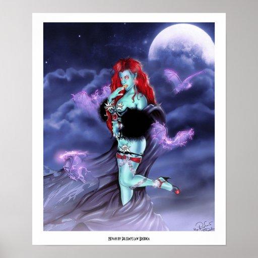 Vampire Princess Nevan  cool lady comic style art Poster