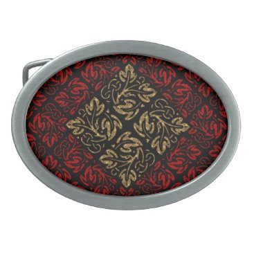 Halloween Themed Vampire Red and Gold Damask Gothic Art Belt Buckle
