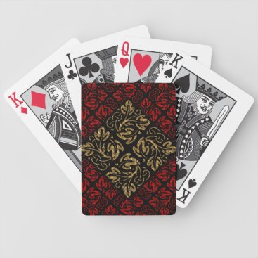 Halloween Themed Vampire Red and Gold Damask Gothic Art Bicycle Playing Cards