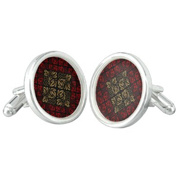 Halloween Themed Vampire Red and Gold Damask Gothic Art Cufflinks