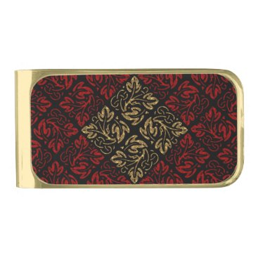 Halloween Themed Vampire Red and Gold Damask Gothic Art Gold Finish Money Clip