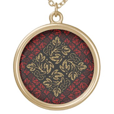 Halloween Themed Vampire Red and Gold Damask Gothic Art Gold Plated Necklace