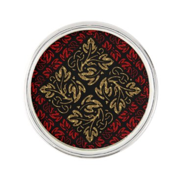 Halloween Themed Vampire Red and Gold Damask Gothic Art Lapel Pin
