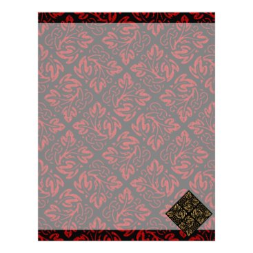 Halloween Themed Vampire Red and Gold Damask Gothic Art Letterhead