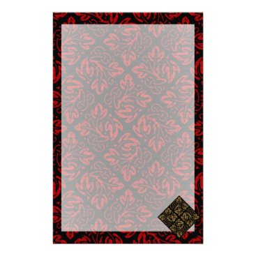 Halloween Themed Vampire Red and Gold Damask Gothic Art Stationery