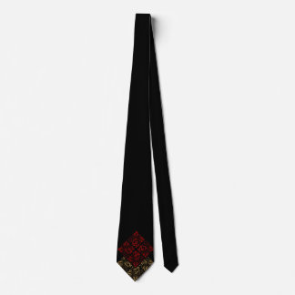 Vampire Red and Gold Damask Gothic Art Tie