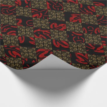 Halloween Themed Vampire Red and Gold Damask Gothic Art Wrapping Paper