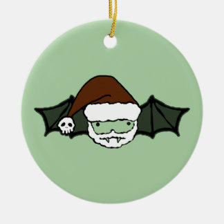 Vampire Santa Bat Double-Sided Ceramic Round Christmas Ornament