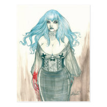 artsprojekt, vampire, fangs, gothic, blood, lust, desire, feeding, ectasy, pleasure, watercolour, pinup, fantasy, illustration, cleavage, posters, beautiful, gorgeous, temptation, seduction, alluring, feminine, fragile, strong, confident, wanderer, immortality, Postcard with custom graphic design