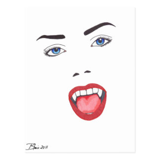 Vampire Silhouette Portrait Post Cards