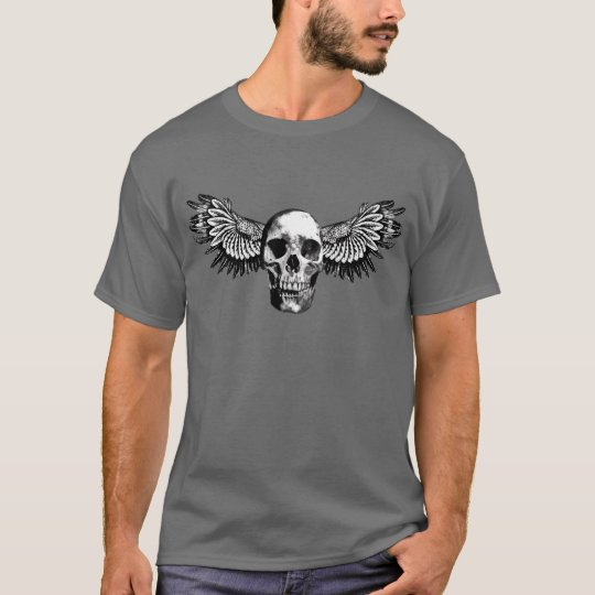 Vampire Skull black and white Bird Wings on dark T-Shirt