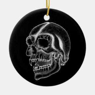 Vampire skull black and white Design Ceramic Ornament