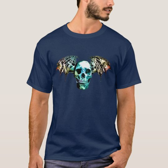 Vampire Skull black lined Bat Wings color2 on dark T-Shirt