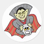 Vampire & Skull Classic Round Sticker