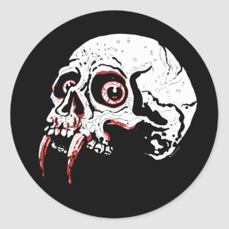 Vampire Skull Classic Round Sticker