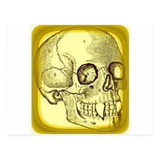 VAMPIRE SKULL PRINT IN GOLD POSTCARD