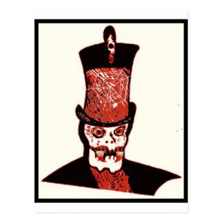 VAMPIRE SKULL WITH TOP HAT PRINT POSTCARD