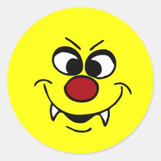 Vampire Smiley Face Grumpey Classic Round Sticker