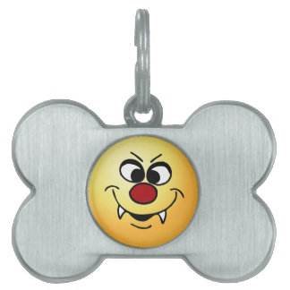 Vampire Smiley Face Grumpey Pet Name Tag
