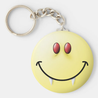 Vampire Smiley Face Keychain