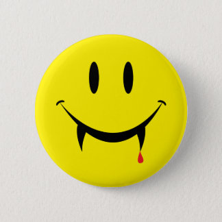 Vampire Smiley Face Pinback Button