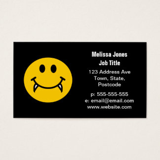 Vampire smiley face with fangs business card