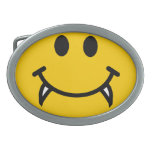 Vampire smiley face with fangs oval belt buckles