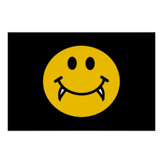 Vampire smiley face with fangs poster