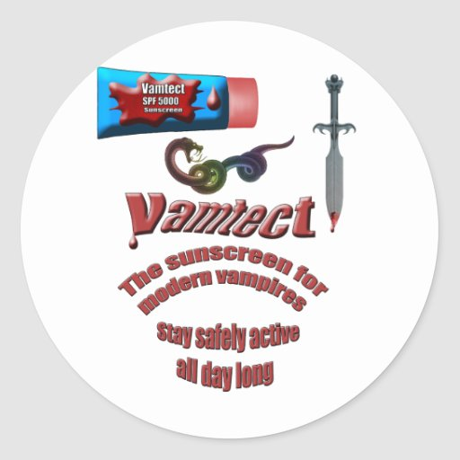 Vampire Sunscreen Classic Round Sticker