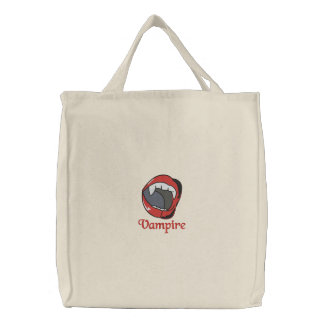 Vampire teeth embroidered tote bag