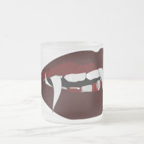 Vampire teeth frosted glass coffee mug