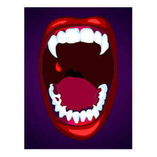 Vampire Teeth Horror Show Monster Fangs Red Purple Postcard
