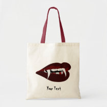 Vampire teeth tote bag